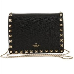 Authentic Valentino rock stud leather pouch wallet